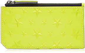 Jimmy Choo CASEY Acid Neon Patent Leather Card Holder with Embossed Stars