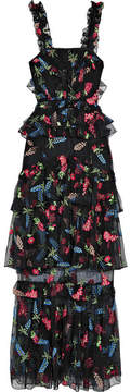 Alice McCall She Moves Me Tiered Ruffled Embroidered Tulle Maxi Dress - Black