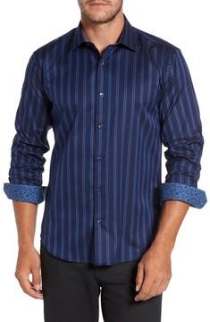 Bugatchi Men's Shaped Fit Stripe Sport Shirt