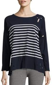 Peserico Long Sleeve Distressed Drop Shoulder T-Shirt