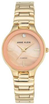 Anne Klein Diamond Accent Goldtone Pink Dial Bracelet Watch