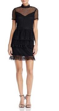 Aqua Short-Sleeve Ruffled Dot Lace Dress - 100% Exclusive
