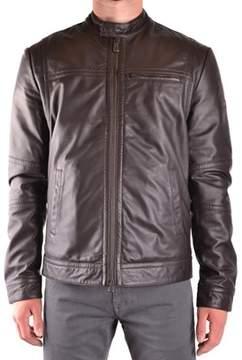 Peuterey Men's Brown Leather Outerwear Jacket.