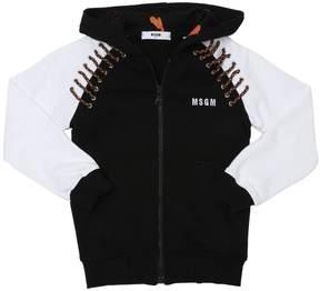 MSGM Hooded Cotton Sweatshirt W/ Laces