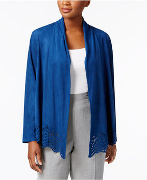 Alfred Dunner Arizona Sky Faux-Suede Cutout Jacket