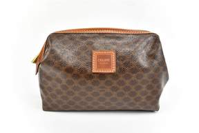 Celine Vintage Brown Cloth Travel Bag