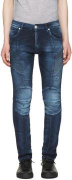 Pierre Balmain Navy Biker Skinny Jeans