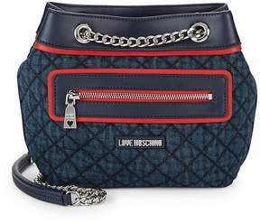 Love Moschino Women's Quilted Denim & Faux Leather Shoulder Bag