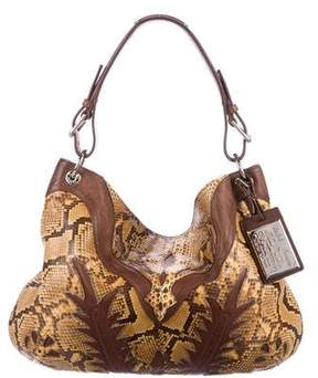 Ralph Lauren Leather-Trimmed Python Hobo