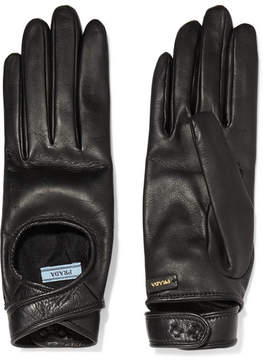 Prada Cutout Leather Gloves - Black