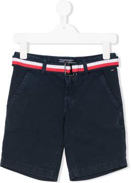 Tommy Hilfiger Junior stripe belted chino shorts