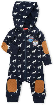 Petit Lem Infant Boys) Hooded Wolf Print Romper