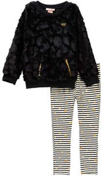 Juicy Couture Faux Fur Tunic & Heart Glitter Print Striped Leggings Set (Big Girls)
