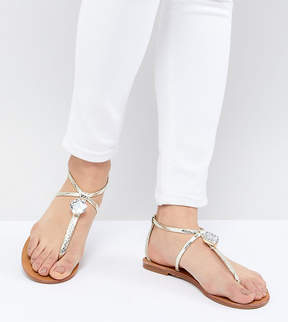 London Rebel Embellished Flat Sandals
