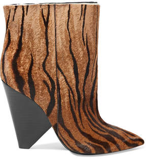 Saint Laurent Niki Zebra-print Calf Hair Ankle Boots - Zebra print