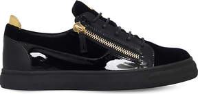 Giuseppe Zanotti Leather and velvet low-top trainers