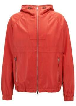 BOSS Hugo Lightweight Nappa Leather Windbreaker Jacket 'Carbello' 42R Orange