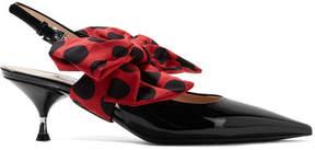 Prada Bow-embellished Patent-leather Slingback Pumps - Black