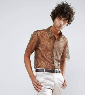 Reclaimed Vintage Inspired Lace Shirt With Short Sleeves In Reg Fit