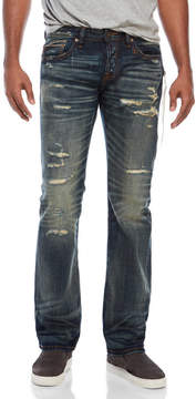 Cult of Individuality Rebel Straight Fit Distressed Zip Jeans