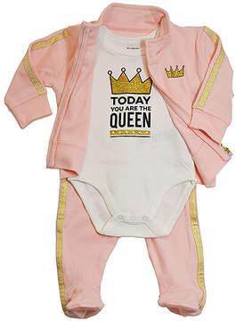 Petit Lem White & Gold 'You Are the Queen' Bodysuit Set - Newborn & Infant
