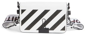 Off-White Diagonal Stripe Mini Square Flap Bag - White