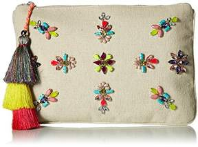 Steve Madden Belle Oversized Bohemian Multi Colored Jewels and Rhinestones Fabric Clutch