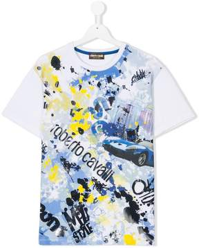 Roberto Cavalli Teen car print T-shirt