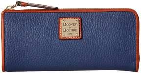 Dooney & Bourke Pebble Zip Clutch Clutch Handbags - CRANBERRY/TAN TRIM - STYLE
