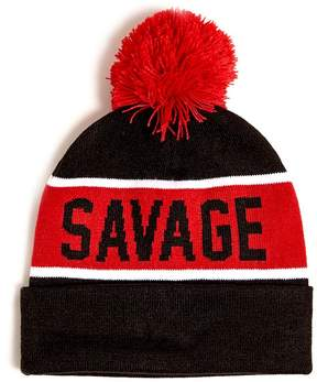 21men 21 MEN Men Savage Striped Pom Pom Beanie