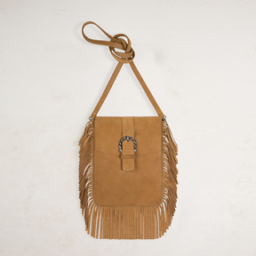 Maje Suede shoulder bag with fringes