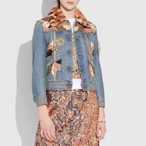 Coach New YorkCoach Embellished Quilted Patchwork Denim Jacket