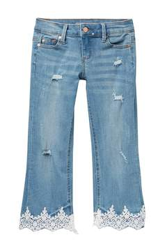 Tractr Lace Hem Jeans (Big Girls)