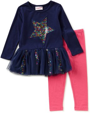 Flapdoodles Little Girls 2T-6X Rainbow Star Dress & Solid Leggings Set