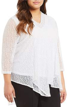 Allison Daley Plus 3/4 Sleeve Square Dot Mesh Hi-Lo Asymmetrical Hem Tunic
