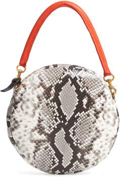 Clare Vivier Python Embossed Leather Circle Clutch