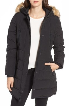 GUESS Women's Hooded Jacket With Faux Fur Trim