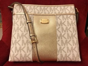 Michael Kors Large Vanilla Gold Signature Metallic Center Stripe PVC Messenger Crossbody - ONE COLOR - STYLE