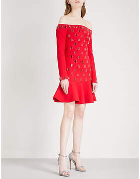 David Koma Off-the-shoulder embellished wool-blend mini dress