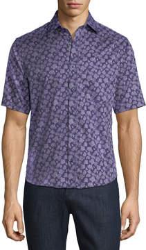 Neiman Marcus Classic-Fit Short-Sleeve Paisley Sport Shirt