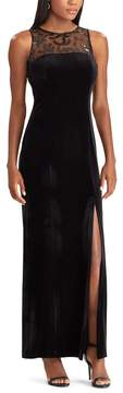 Chaps Women's Sequin Trim Velvet Evening Gown