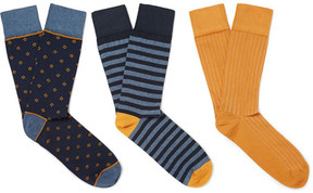 Corgi Three-Pack Cotton-Blend Socks
