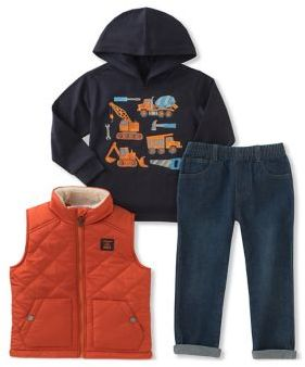 Kids Headquarters Little Boy's Three-Piece Quilted Sherpa Vest, Graphic Hoodie and Classic Jeans Set