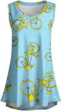Lily Blue & Yellow Bicycle Sleeveless Tunic - Women & Plus