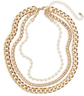 BP Women's Three-Layer Chain & Faux Pearl Necklace