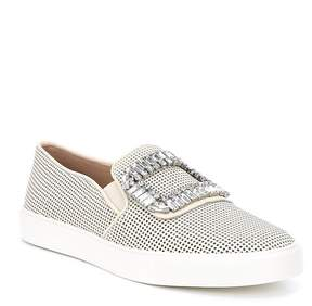Karl Lagerfeld Paris PARIS Ermine8 Leather and Glitter Jeweled Embellishment Buckle Perforated Sneakers