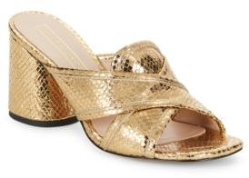 Marc Jacobs Embossed Metallic Leather Sandals