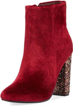 Neiman Marcus Bucasi Velvet Glitter-Heel Bootie
