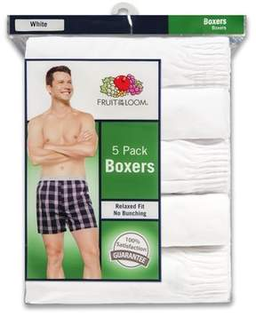 Fruit of the Loom Men's Relaxed Fit White Boxers, 5 Pack