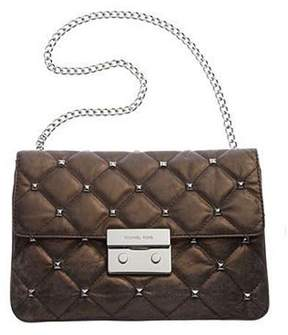 Michael Kors Sloan Quilted Stud Clutch in Nickel - NICKEL - STYLE